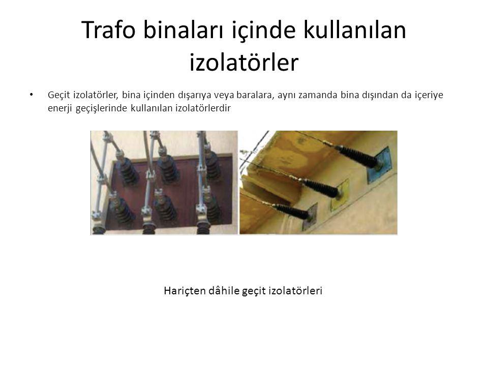 Trafo binaları içinde kullanılan izolatörler Geçit izolatörler, bina içinden dışarıya veya baralara, aynı zamanda bina dışından da içeriye enerji geçişlerinde kullanılan izolatörlerdir Hariçten dâhile geçit izolatörleri