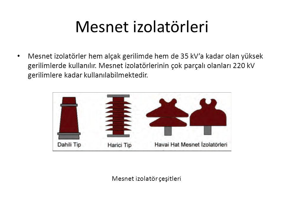 Mesnet izolatörleri Mesnet izolatörler hem alçak gerilimde hem de 35 kV'a kadar olan yüksek gerilimlerde kullanılır.