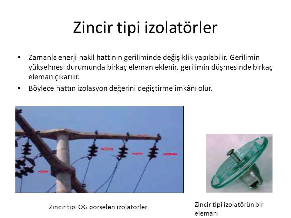 Mesnet tipi izolatör ile zincir tipi izolatörün karşılaştırılması Zincir izolatörde, elemanlardan biri kırılırsa sadece o eleman değiştirilebilir.