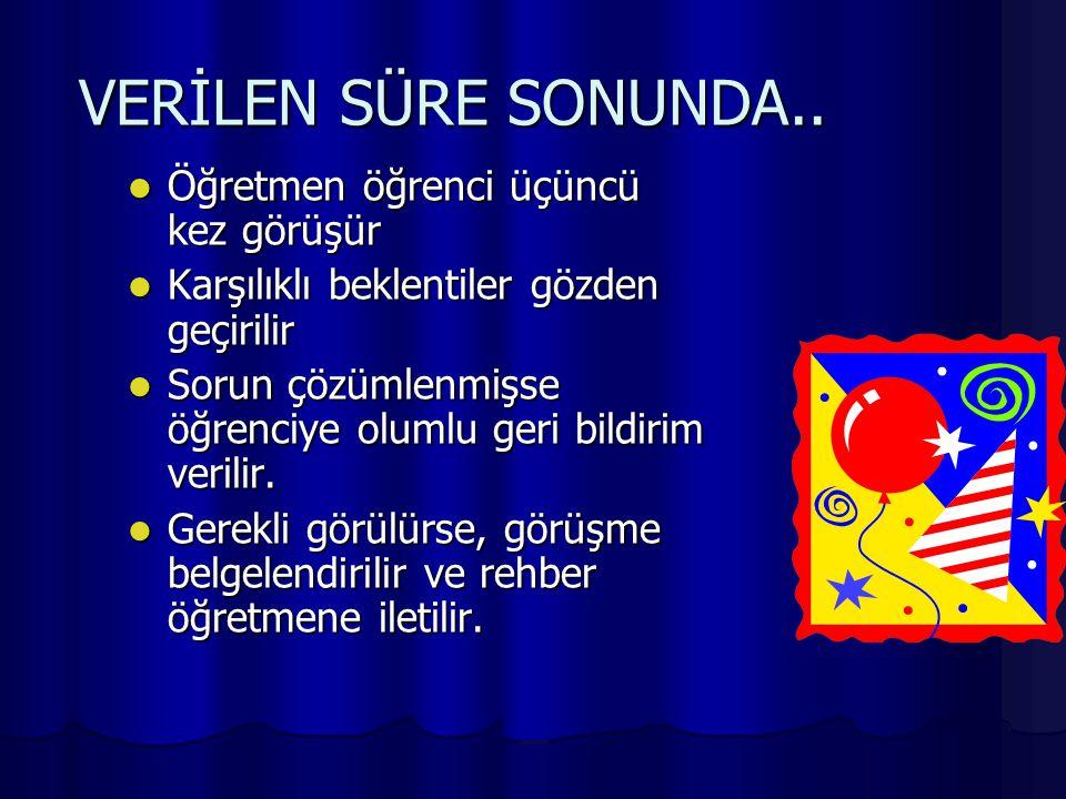VERİLEN SÜRE SONUNDA..