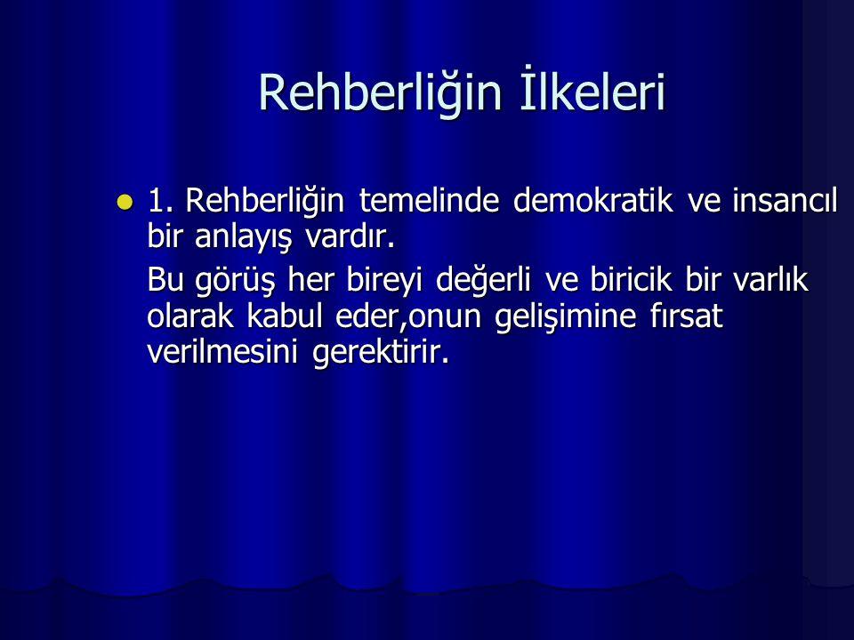 Rehberliğin İlkeleri 1. Rehberliğin temelinde demokratik ve insancıl bir anlayış vardır. 1. Rehberliğin temelinde demokratik ve insancıl bir anlayış v
