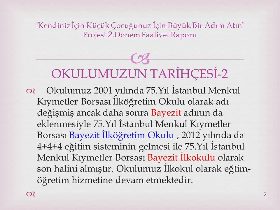  5  Okulumuz 2001 yılında 75.Yıl İstanbul Menkul Kıymetler Borsası İlköğretim Okulu olarak adı değişmiş ancak daha sonra Bayezit adının da eklenmesi