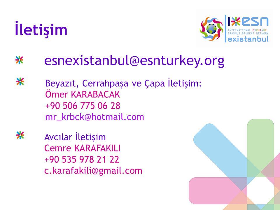 İletişim esnexistanbul@esnturkey.org Beyazıt, Cerrahpaşa ve Çapa İletişim: Ömer KARABACAK +90 506 775 06 28 mr_krbck@hotmail.com Avcılar İletişim Cemr