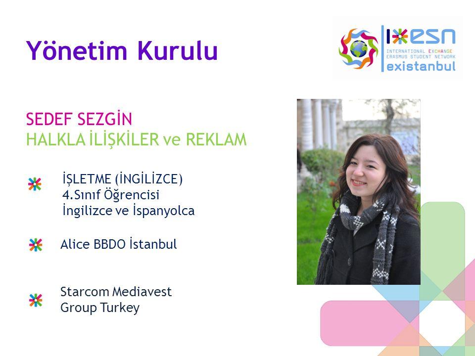 Yönetim Kurulu SEDEF SEZGİN HALKLA İLİŞKİLER ve REKLAM İŞLETME (İNGİLİZCE) 4.Sınıf Öğrencisi İngilizce ve İspanyolca Alice BBDO İstanbul Starcom Media