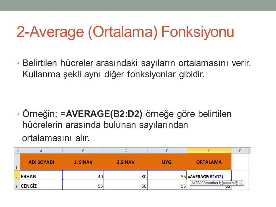 2-Average (Ortalama) Fonksiyonu Belirtilen hücreler arasındaki sayıların ortalamasını verir.