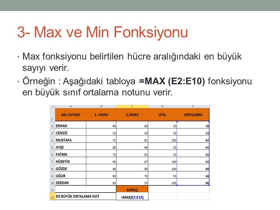 3- Max ve Min Fonksiyonu Max fonksiyonu belirtilen hücre aralığındaki en büyük sayıyı verir.