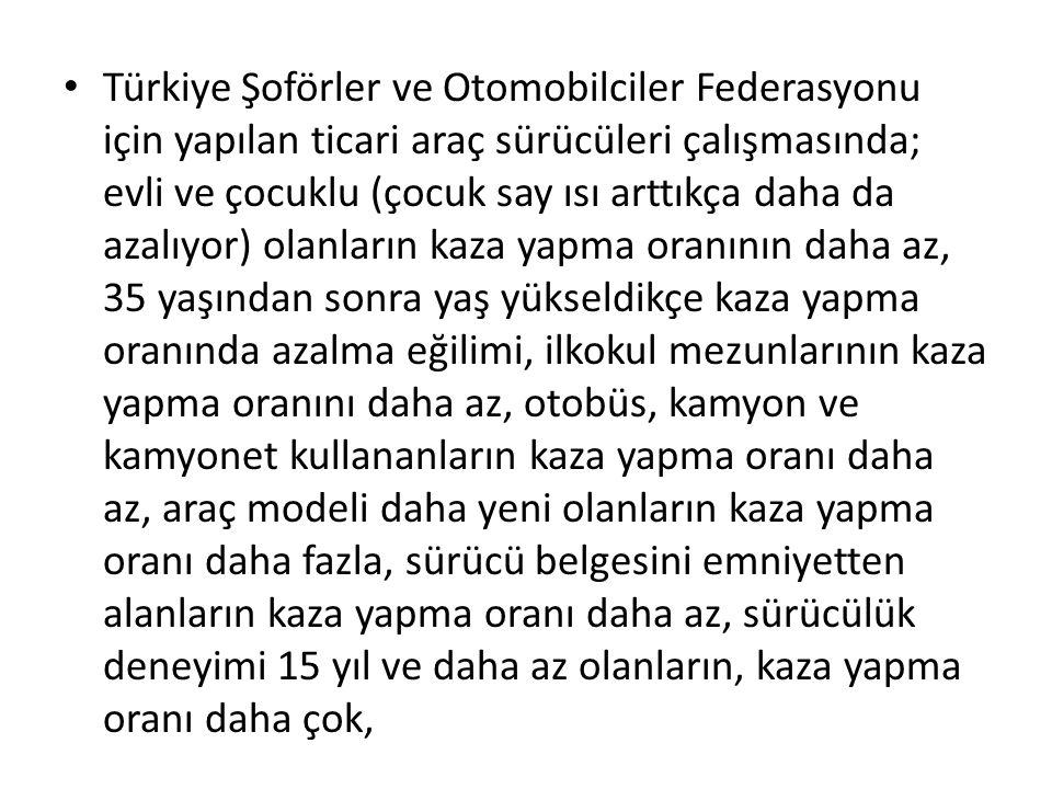 Türkiye Şoförler ve Otomobilciler Federasyonu için yapılan ticari araç sürücüleri çalışmasında; evli ve çocuklu (çocuk say ısı arttıkça daha da azalıy