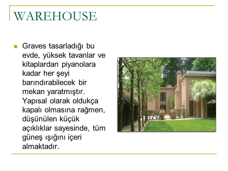 WAREHOUSE Graves tasarladığı bu evde, yüksek tavanlar ve kitaplardan piyanolara kadar her şeyi barındırabilecek bir mekan yaratmıştır. Yapısal olarak