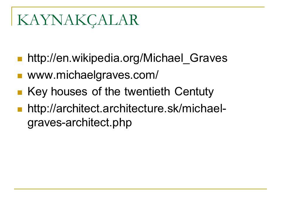 KAYNAKÇALAR http://en.wikipedia.org/Michael_Graves www.michaelgraves.com/ Key houses of the twentieth Centuty http://architect.architecture.sk/michael