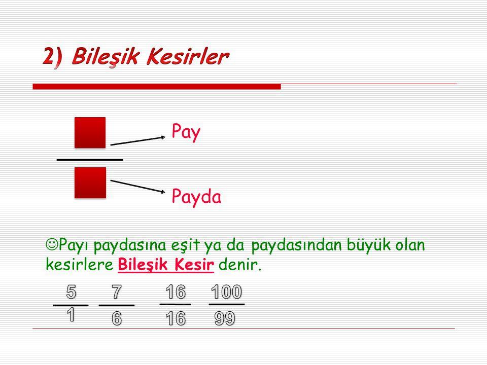 Tam Kısım Pay Payda Basit kesirlere bir veya daha fazla bütün eklenen kesirlere Tamsayılı Kesirler denir.
