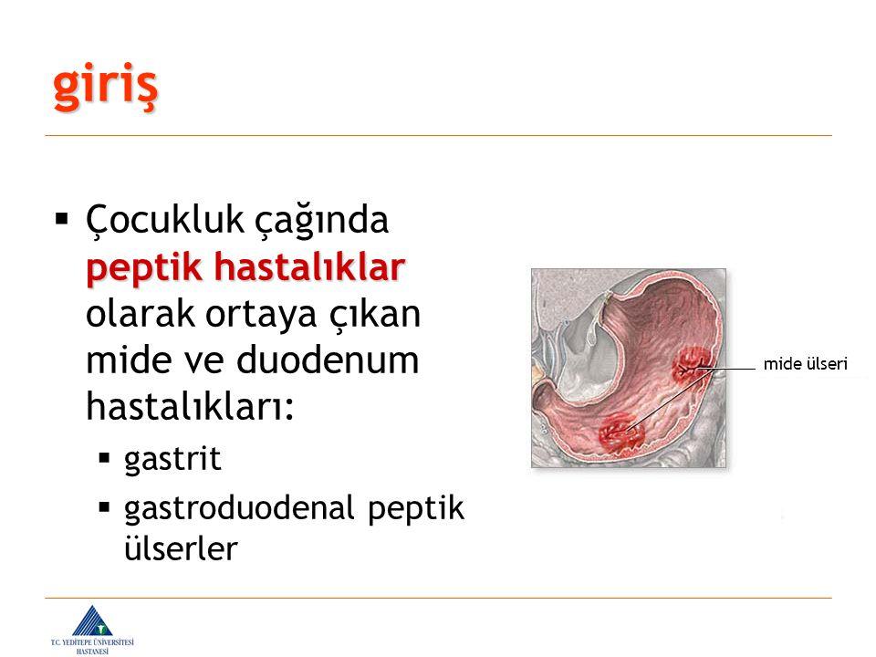 giriş  Gastrit:  mide mukozasının inflamasyonu ve erozyonu ile karakterli yüzeyel mukozal doku hasarları  Peptik ülser:  muskularis mukozaya kadar uzanan lezyonlar