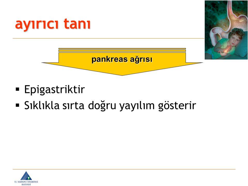 ayırıcı tanı  Epigastriktir  Sıklıkla sırta doğru yayılım gösterir pankreas ağrısı
