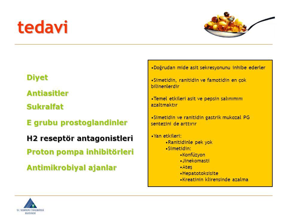 Antiasitler Sukralfat E grubu prostoglandinler H2 reseptör antagonistleri Proton pompa inhibitörleri Antimikrobiyal ajanlar Doğrudan mide asit sekresy