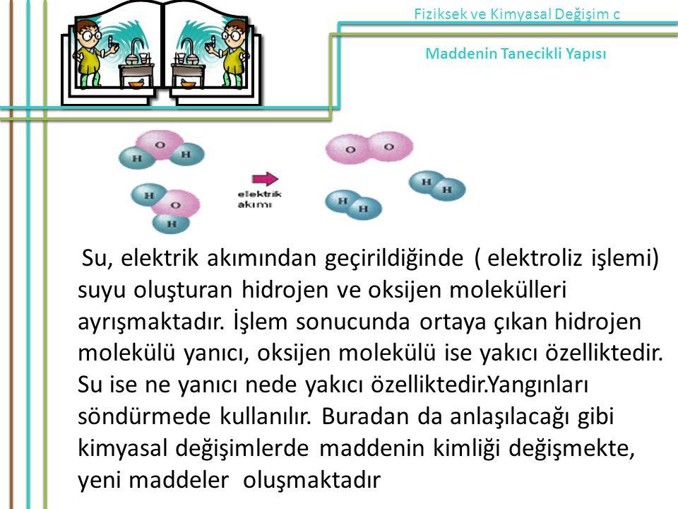 Su, elektrik akımından geçirildiğinde ( elektroliz işlemi) suyu oluşturan hidrojen ve oksijen molekülleri ayrışmaktadır.