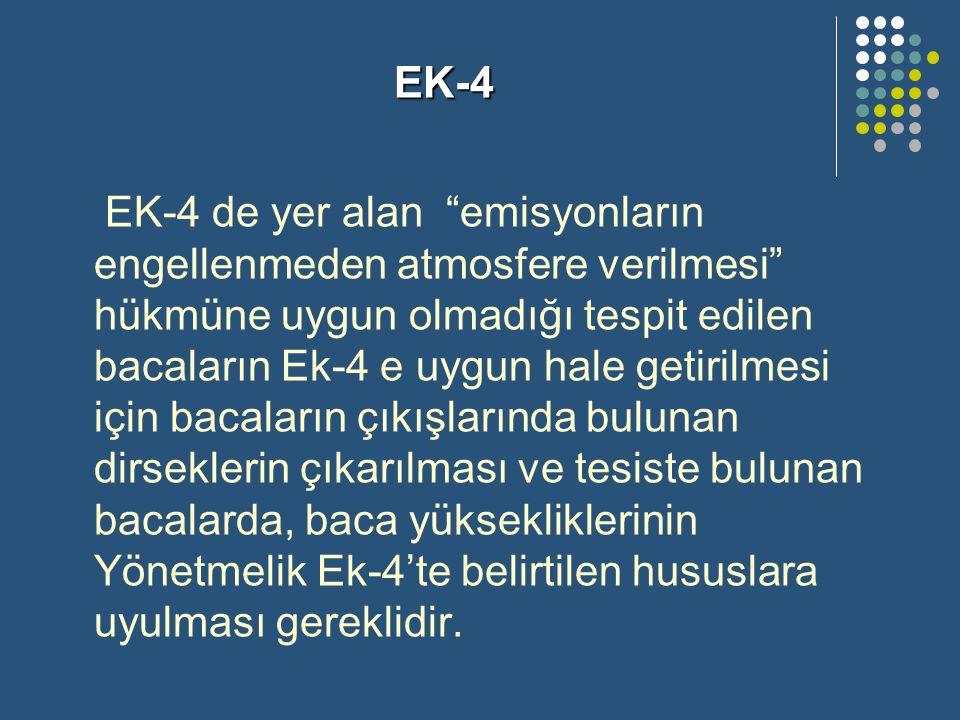 """EK-4 de yer alan """"emisyonların engellenmeden atmosfere verilmesi"""" hükmüne uygun olmadığı tespit edilen bacaların Ek-4 e uygun hale getirilmesi için ba"""