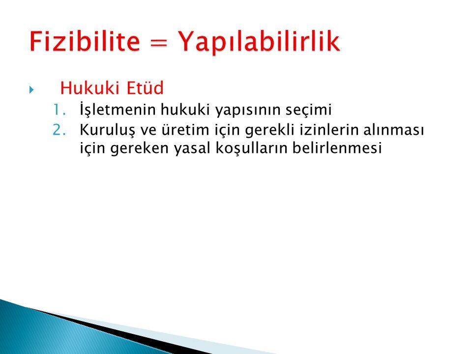  Hukuki Etüd 1.İşletmenin hukuki yapısının seçimi 2.Kuruluş ve üretim için gerekli izinlerin alınması için gereken yasal koşulların belirlenmesi