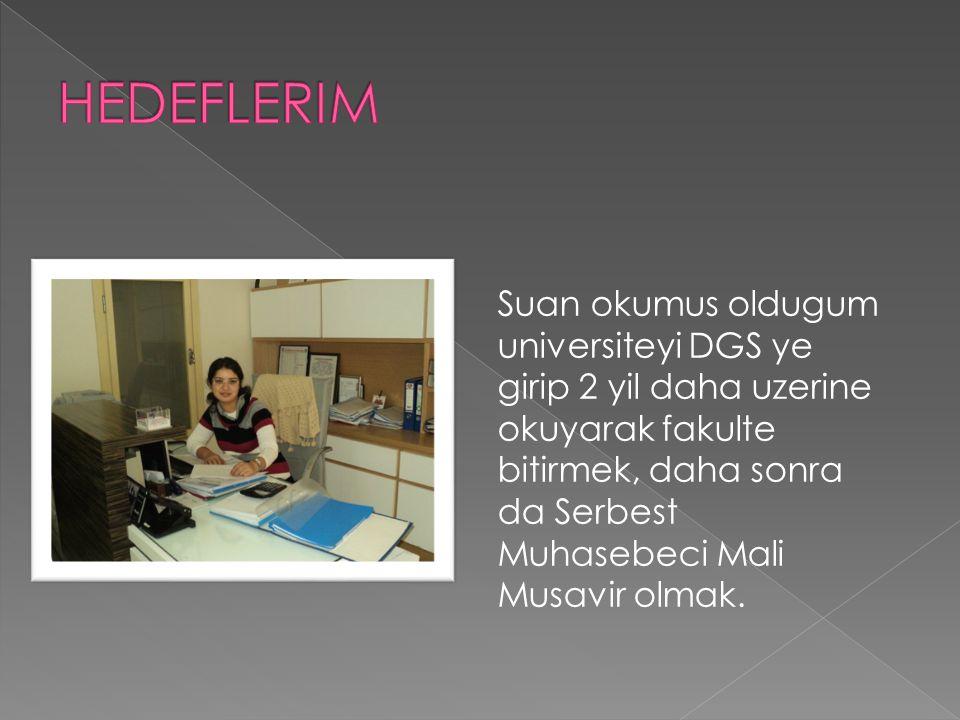 Suan okumus oldugum universiteyi DGS ye girip 2 yil daha uzerine okuyarak fakulte bitirmek, daha sonra da Serbest Muhasebeci Mali Musavir olmak.