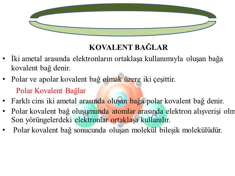 KOVALENT BAĞLAR İki ametal arasında elektronların ortaklaşa kullanımıyla oluşan bağa kovalent bağ denir.
