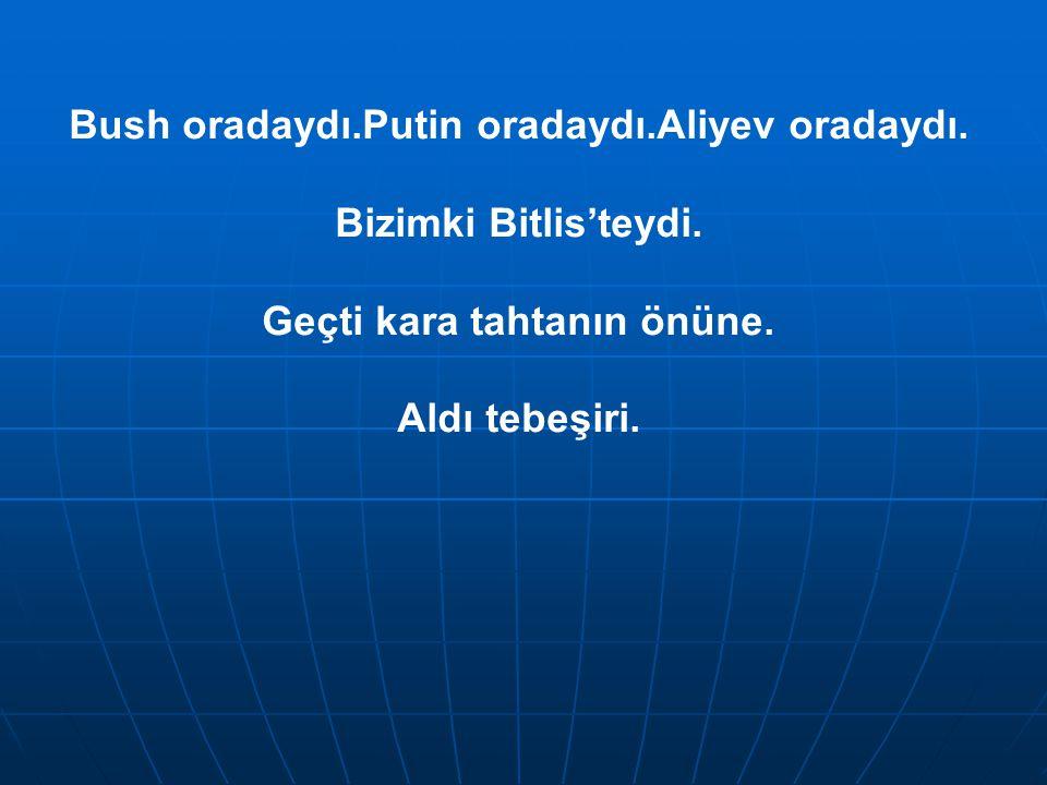 Bush oradaydı.Putin oradaydı.Aliyev oradaydı. Bizimki Bitlis'teydi.