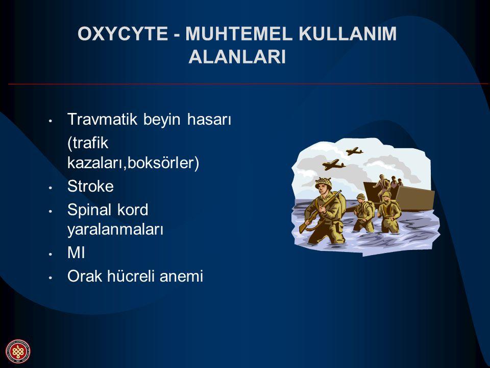 OXYCYTE - MUHTEMEL KULLANIM ALANLARI Travmatik beyin hasarı (trafik kazaları,boksörler) Stroke Spinal kord yaralanmaları MI Orak hücreli anemi