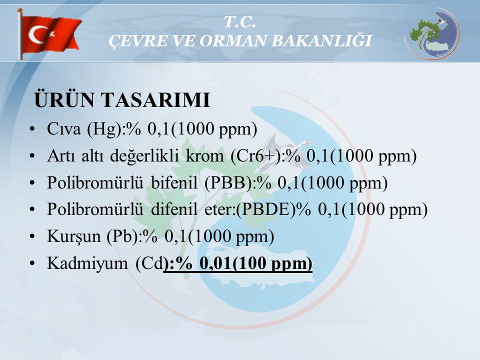 T.C. ÇEVRE VE ORMAN BAKANLIĞI ÜRÜN TASARIMI Cıva (Hg):% 0,1(1000 ppm) Artı altı değerlikli krom (Cr6+):% 0,1(1000 ppm) Polibromürlü bifenil (PBB):% 0,