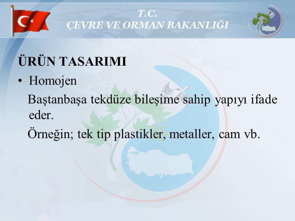 T.C. ÇEVRE VE ORMAN BAKANLIĞI ÜRÜN TASARIMI Homojen Baştanbaşa tekdüze bileşime sahip yapıyı ifade eder. Örneğin; tek tip plastikler, metaller, cam vb