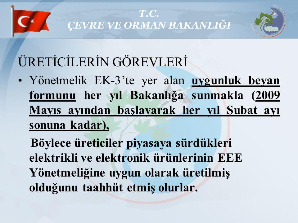 T.C. ÇEVRE VE ORMAN BAKANLIĞI ÜRETİCİLERİN GÖREVLERİ Yönetmelik EK-3'te yer alan uygunluk beyan formunu her yıl Bakanlığa sunmakla (2009 Mayıs ayından