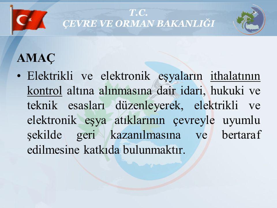 T.C. ÇEVRE VE ORMAN BAKANLIĞI AMAÇ Elektrikli ve elektronik eşyaların ithalatının kontrol altına alınmasına dair idari, hukuki ve teknik esasları düze