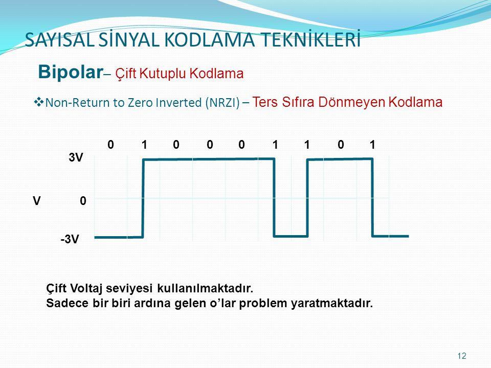 SAYISAL SİNYAL KODLAMA TEKNİKLERİ 13  Return to Zero – Sıfıra Dönen Kodlama Bipolar – Çift Kutuplu Kodlama Çift Voltaj seviyesi kullanılmaktadır.