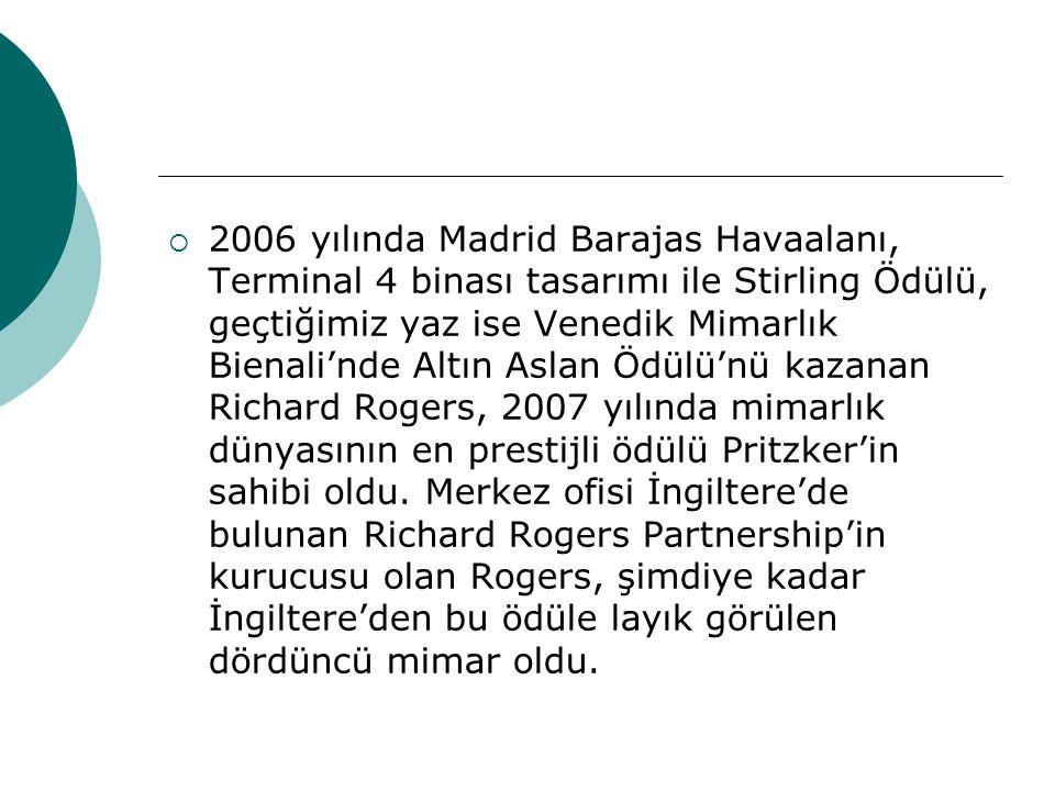  2006 yılında Madrid Barajas Havaalanı, Terminal 4 binası tasarımı ile Stirling Ödülü, geçtiğimiz yaz ise Venedik Mimarlık Bienali'nde Altın Aslan Öd