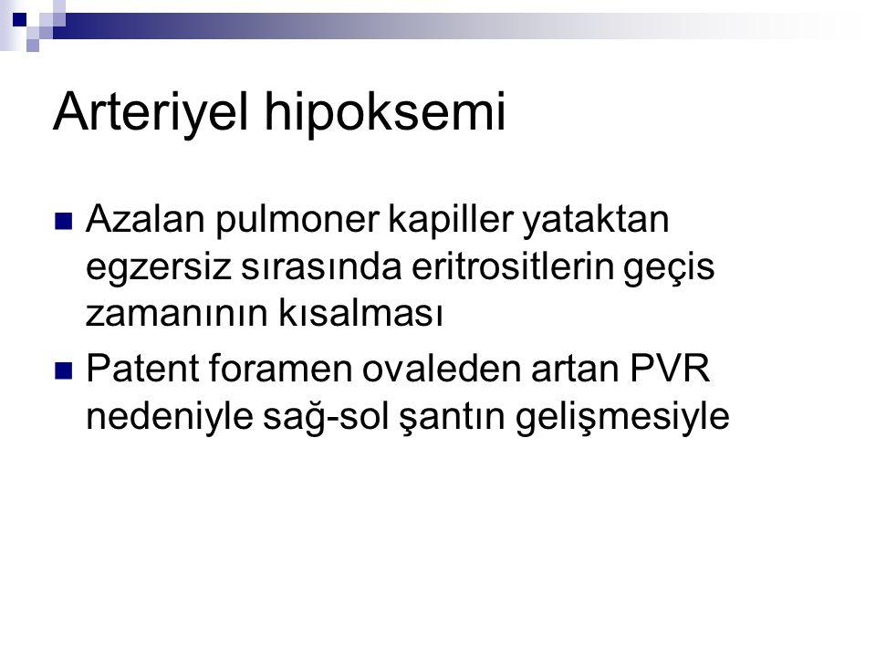 Arteriyel hipoksemi Azalan pulmoner kapiller yataktan egzersiz sırasında eritrositlerin geçis zamanının kısalması Patent foramen ovaleden artan PVR ne