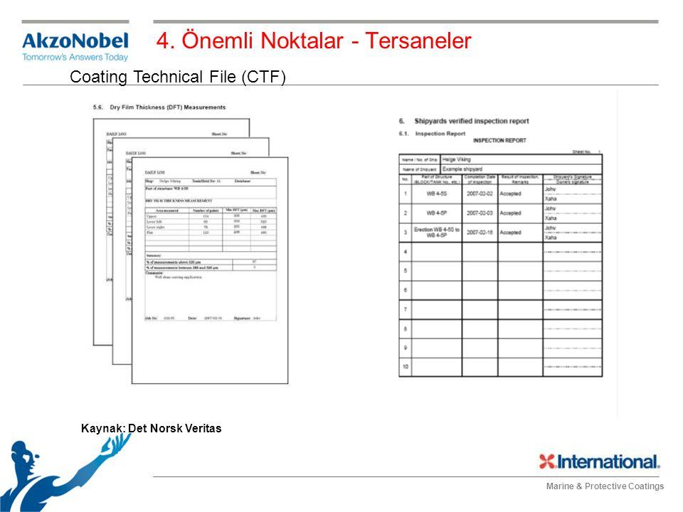 Marine & Protective Coatings 4. Önemli Noktalar - Tersaneler Coating Technical File (CTF) Kaynak: Det Norsk Veritas