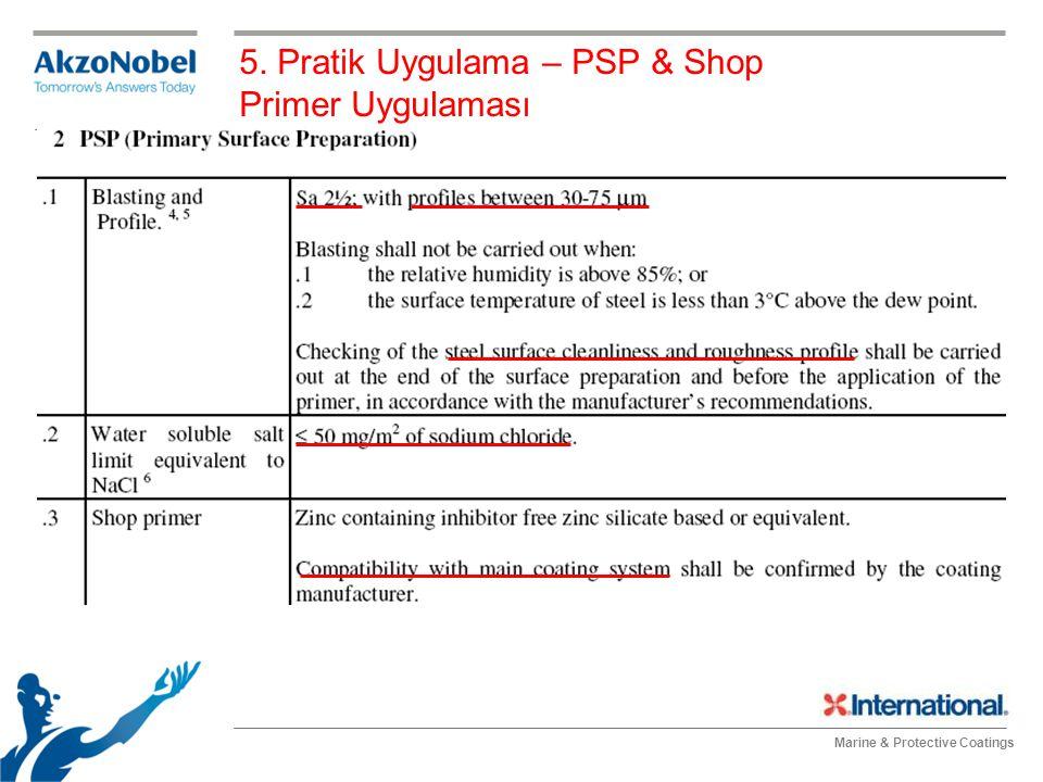 Marine & Protective Coatings 5. Pratik Uygulama – PSP & Shop Primer Uygulaması