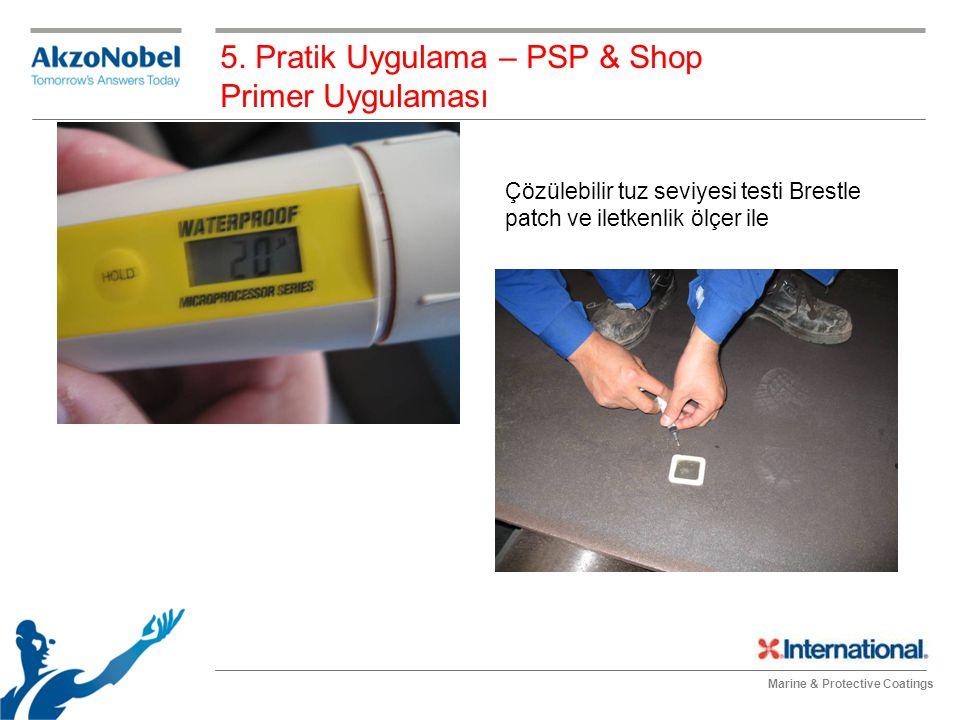 Marine & Protective Coatings 5. Pratik Uygulama – PSP & Shop Primer Uygulaması Çözülebilir tuz seviyesi testi Brestle patch ve iletkenlik ölçer ile