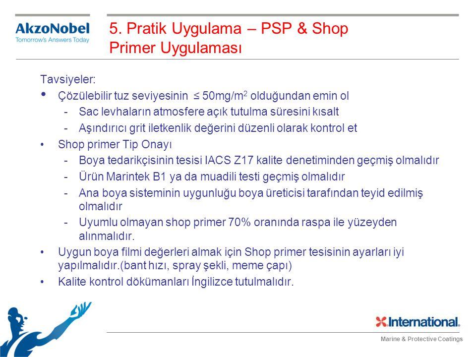 Marine & Protective Coatings 5. Pratik Uygulama – PSP & Shop Primer Uygulaması Tavsiyeler: Çözülebilir tuz seviyesinin ≤ 50mg/m 2 olduğundan emin ol -