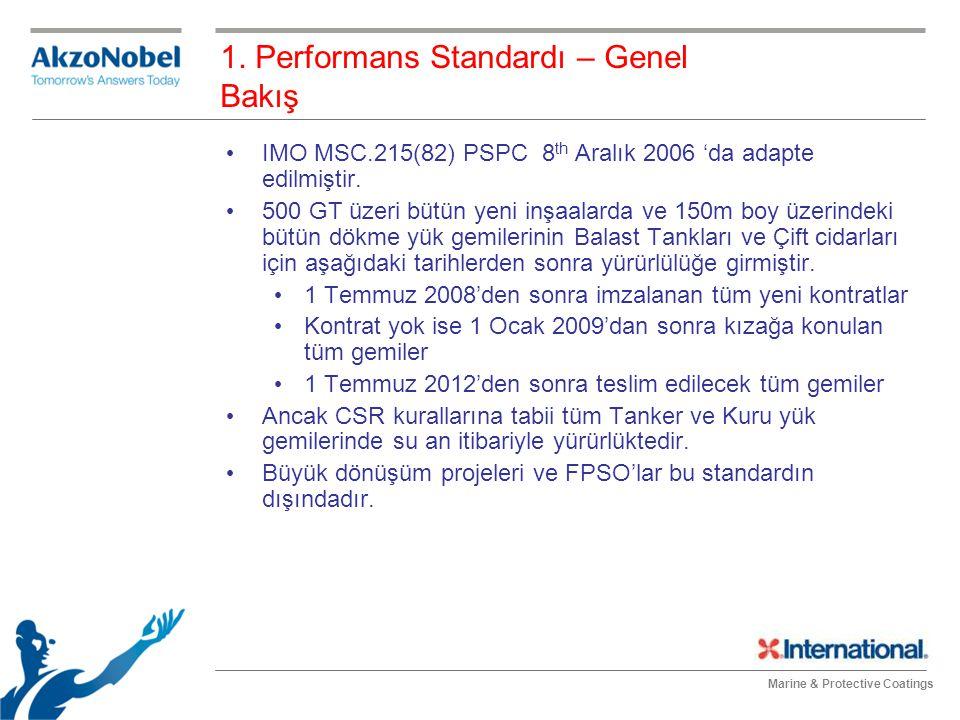 Marine & Protective Coatings 1. Performans Standardı – Genel Bakış IMO MSC.215(82) PSPC 8 th Aralık 2006 'da adapte edilmiştir. 500 GT üzeri bütün yen