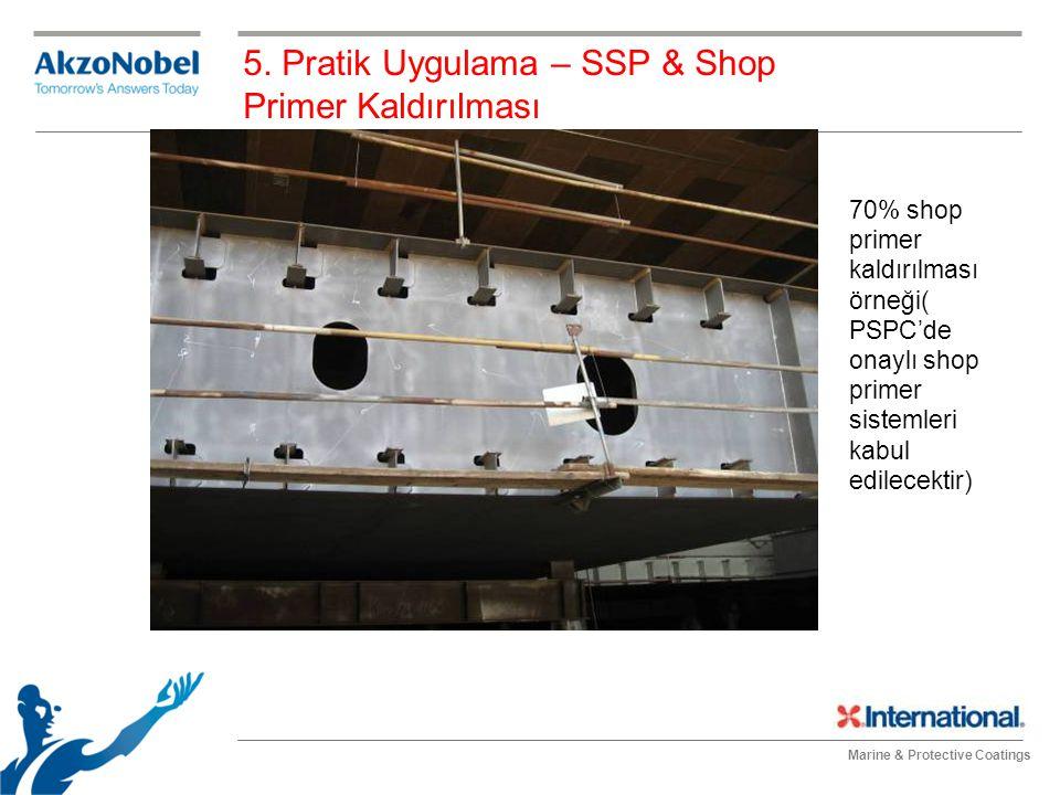 Marine & Protective Coatings 70% shop primer kaldırılması örneği( PSPC'de onaylı shop primer sistemleri kabul edilecektir) 5. Pratik Uygulama – SSP &