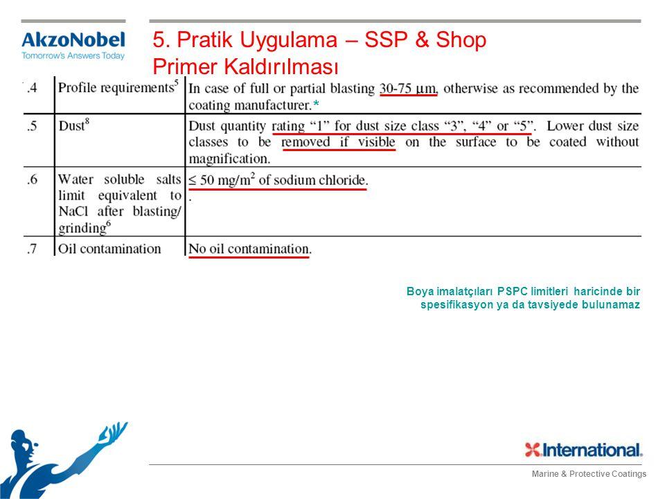 Marine & Protective Coatings 5. Pratik Uygulama – SSP & Shop Primer Kaldırılması Boya imalatçıları PSPC limitleri haricinde bir spesifikasyon ya da ta