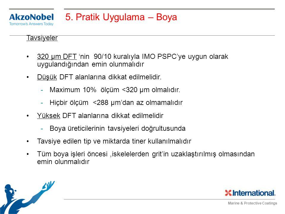 Marine & Protective Coatings Tavsiyeler 320 μm DFT 'nin 90/10 kuralıyla IMO PSPC'ye uygun olarak uygulandığından emin olunmalıdır Düşük DFT alanlarına