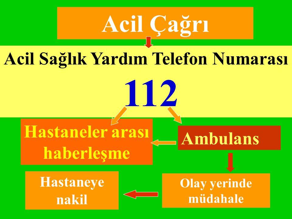 Acil Çağrı Acil Sağlık Yardım Telefon Numarası 112 Ambulans Hastaneler arası haberleşme Olay yerinde müdahale Hastaneye nakil