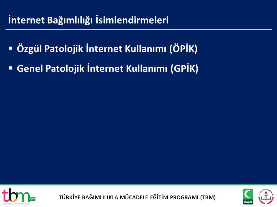  Özgül Patolojik İnternet Kullanımı (ÖPİK)  Genel Patolojik İnternet Kullanımı (GPİK) İnternet Bağımlılığı İsimlendirmeleri TÜRKİYE BAĞIMLILIKLA MÜC