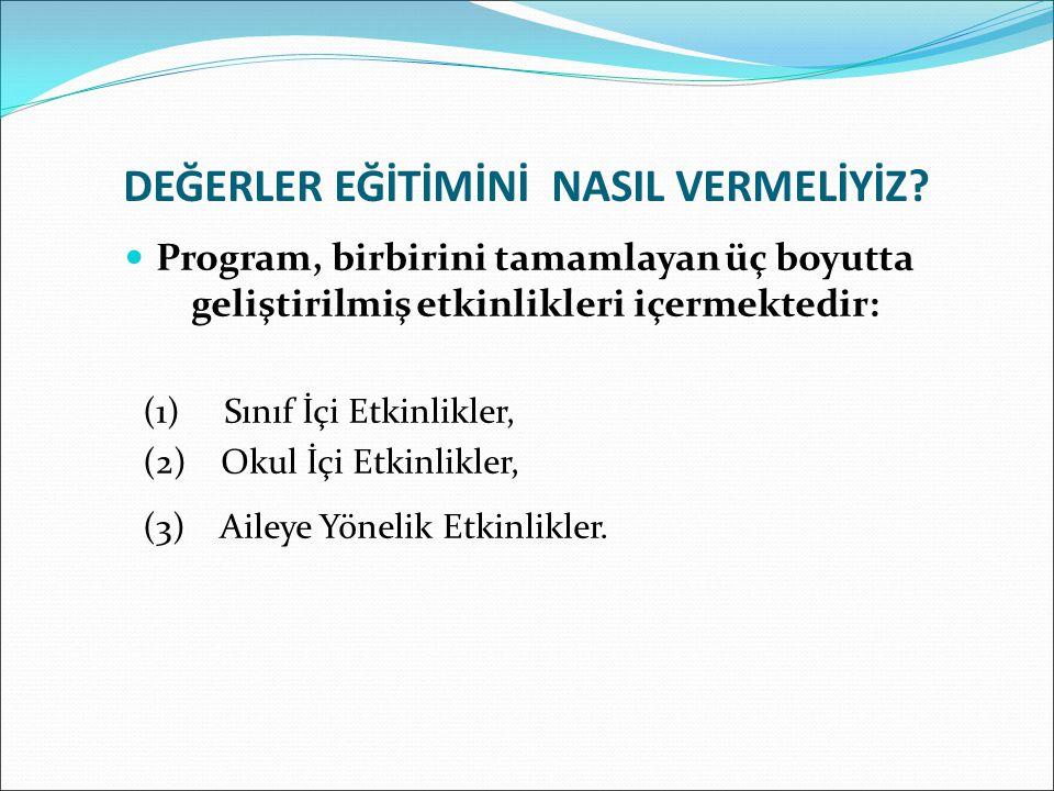DEĞERLER EĞİTİMİNİ NASIL VERMELİYİZ? Program, birbirini tamamlayan üç boyutta geliştirilmiş etkinlikleri içermektedir: (1) Sınıf İçi Etkinlikler, (2)