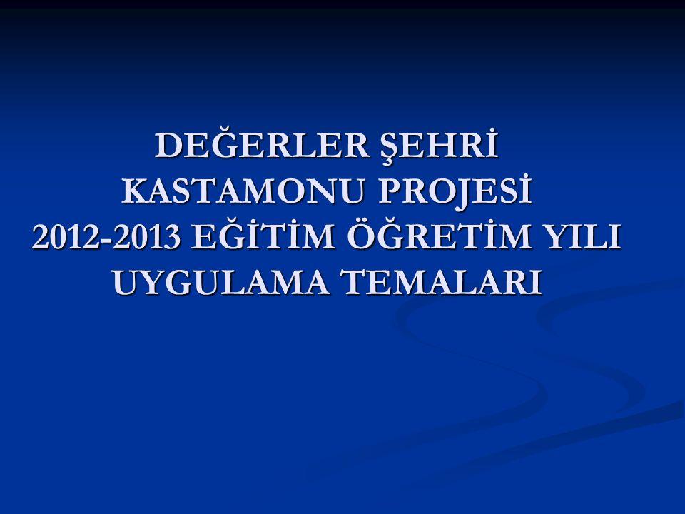 DEĞERLER ŞEHRİ KASTAMONU PROJESİ 2012-2013 EĞİTİM ÖĞRETİM YILI UYGULAMA TEMALARI