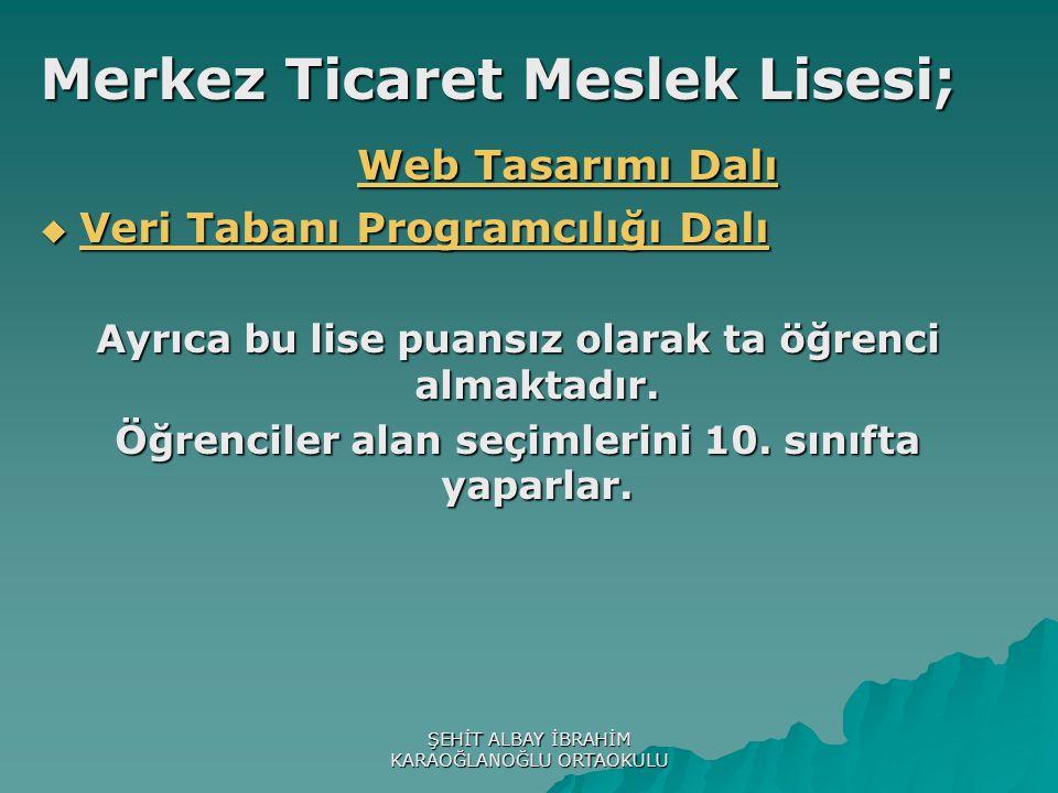 Merkez Ticaret Meslek Lisesi; Web Tasarımı Dalı Web Tasarımı Dalı  Veri Tabanı Programcılığı Dalı Veri Tabanı Programcılığı Dalı Veri Tabanı Programcılığı Dalı Ayrıca bu lise puansız olarak ta öğrenci almaktadır.
