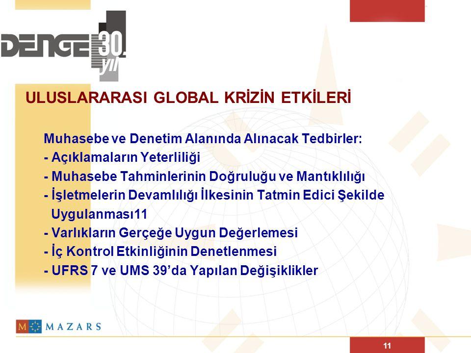 11 ULUSLARARASI GLOBAL KRİZİN ETKİLERİ Muhasebe ve Denetim Alanında Alınacak Tedbirler: - Açıklamaların Yeterliliği - Muhasebe Tahminlerinin Doğruluğu