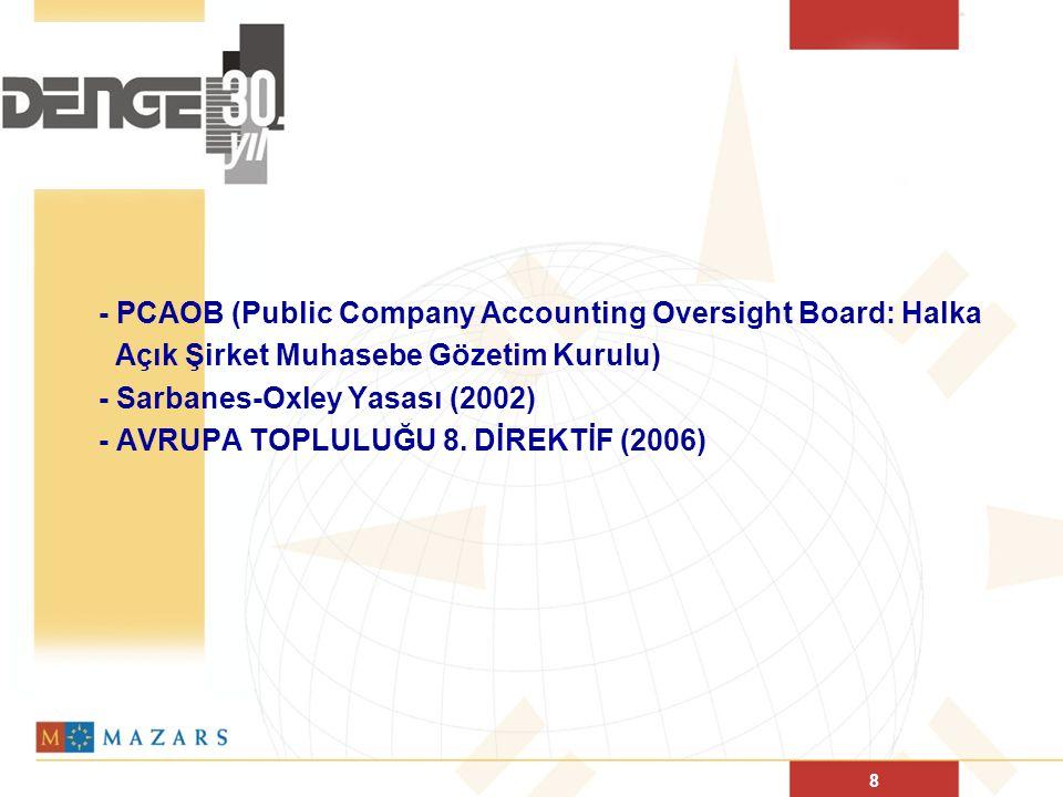 8 - PCAOB (Public Company Accounting Oversight Board: Halka Açık Şirket Muhasebe Gözetim Kurulu) - Sarbanes-Oxley Yasası (2002) - AVRUPA TOPLULUĞU 8.