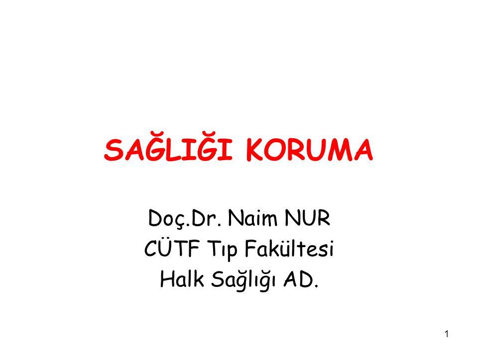 1 SAĞLIĞI KORUMA Doç.Dr. Naim NUR CÜTF Tıp Fakültesi Halk Sağlığı AD.