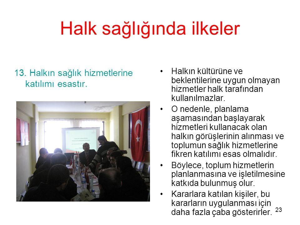23 Halk sağlığında ilkeler 13. Halkın sağlık hizmetlerine katılımı esastır. Halkın kültürüne ve beklentilerine uygun olmayan hizmetler halk tarafından