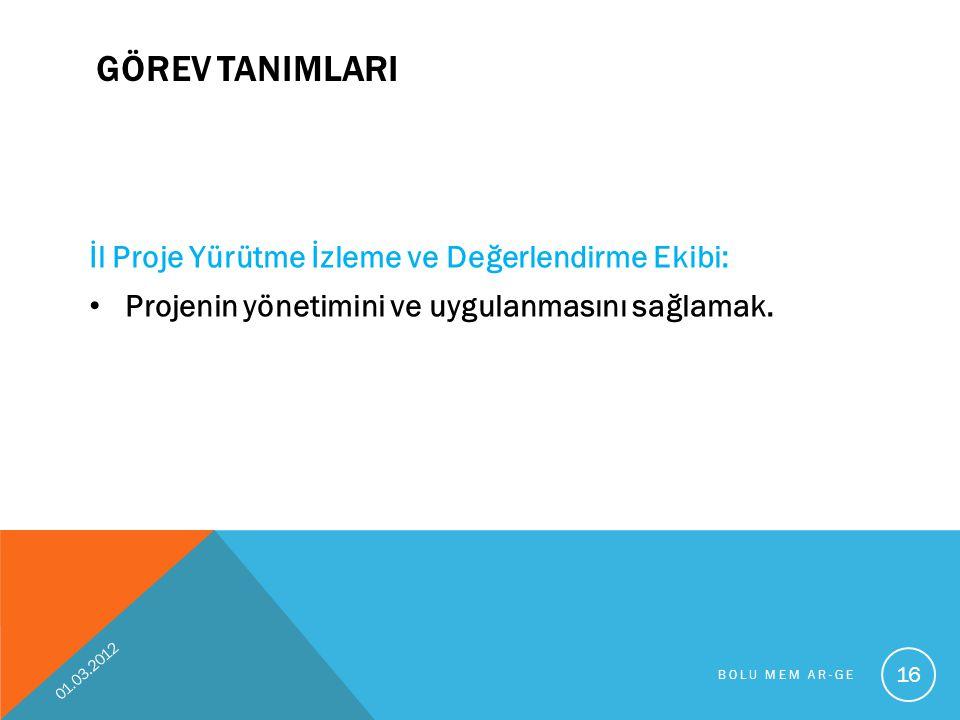 GÖREV TANIMLARI İl Proje Yürütme İzleme ve Değerlendirme Ekibi: Projenin yönetimini ve uygulanmasını sağlamak. 01.03.2012 BOLU MEM AR-GE 16