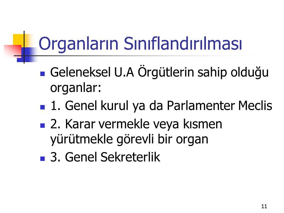11 Organların Sınıflandırılması Geleneksel U.A Örgütlerin sahip olduğu organlar: 1. Genel kurul ya da Parlamenter Meclis 2. Karar vermekle veya kısmen